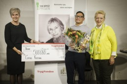 Gurli Martinussen (direktør i Trygfonden), Søren Carlos (modtager af Tine Bryld Prisen 2017), Helle Degn (formand for Tine Bryld Prisen